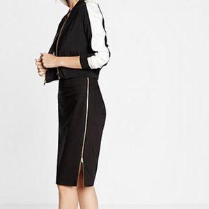 Express Black Gold Side Zipper Midi Pencil Skirt